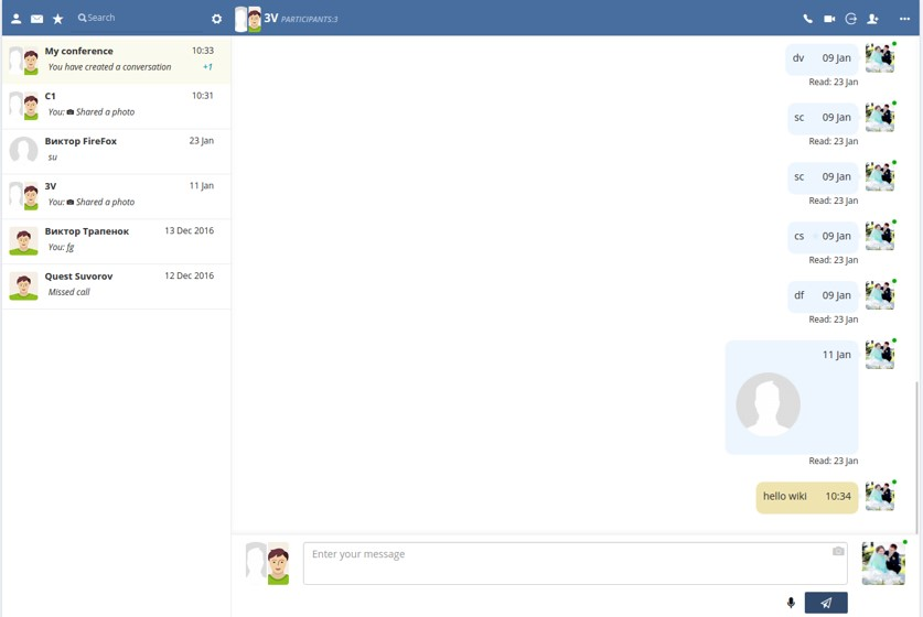 Chat in large window screenshot